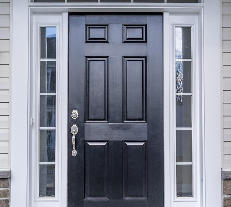 Classic fiberglass prehung black front door
